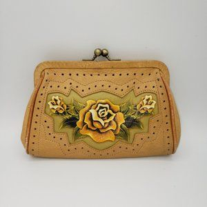ISABELLA FIORE Yellow Tattoo Rose Leather Mini Bag